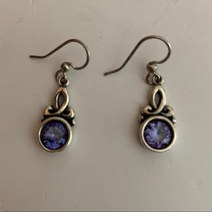 Vintage Sterling Purple Stone Dangle Earrings